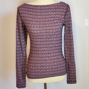 Free People purple geometric long sleeve small